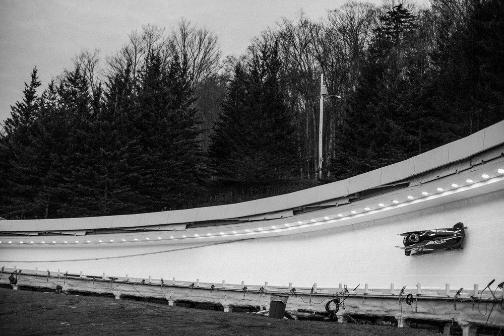 A US sled makes its way through curve 10 on the Lake Placid track during training runs. The track is known among athletes as one of the more technically challenging courses in the World Cup circuit. Olympic veterans and hopefuls in bobsled and skeleton gathered in Lake Placid, New York leading up to the World Cup Bobsled and Skeleton races held November 9-10, 2017. Results from Lake Placid, one stop along the circuit, will help determine teams for the 2018 Winter Olympics in Pyeongchang, South Korea.