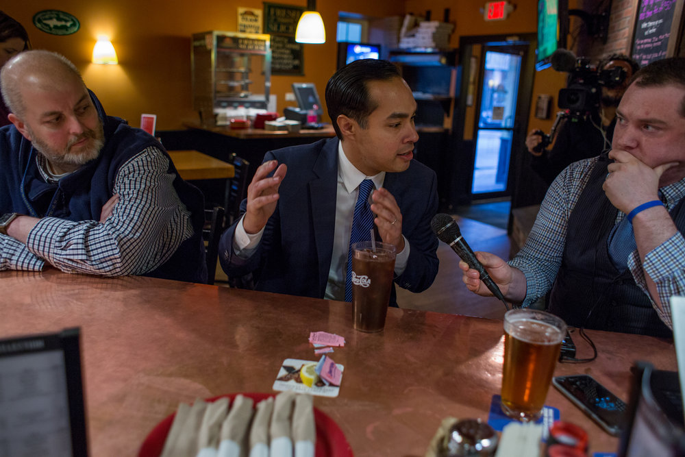 Former Housing and Urban Development Secretary, Juli�n Castro, of San Antonio, Texas, was interviewed by local radio station host, Chris Ryan, in Manchester, New Hampshire. The stop was one of several during Castro's visit to the state on Friday, February 16, 2018, concluding at the New Hampshire Young Democrats annual Granite Slate Awards dinner where he delivered the keynote address.