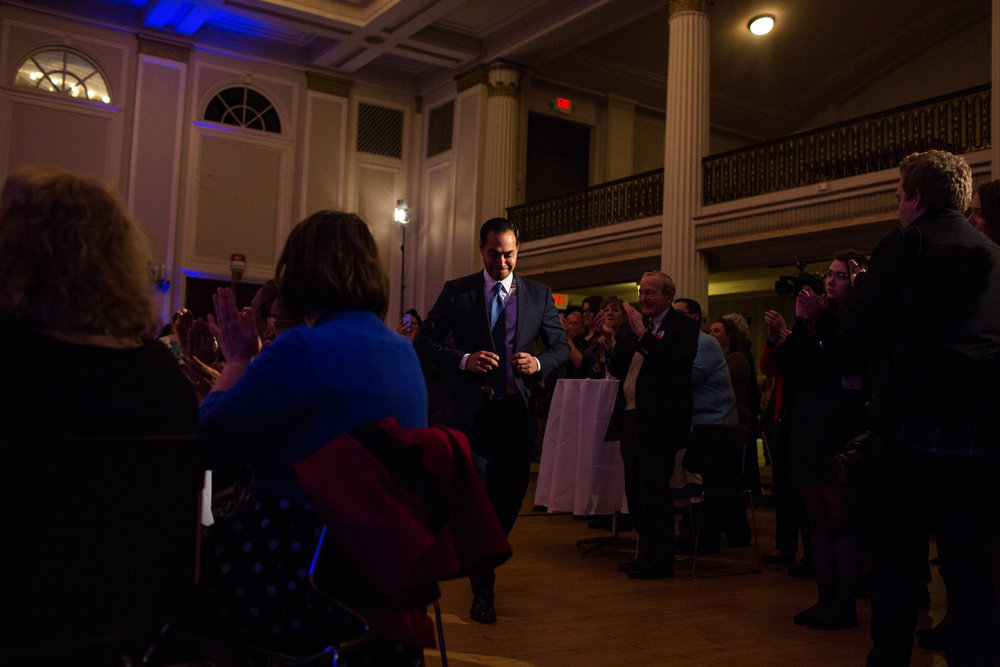Former Housing and Urban Development Secretary, Juli�n Castro, of San Antonio, Texas heads to the stage during the New Hampshire Young Democrats annual Granite Slate Awards dinner in Manchester, New Hampshire on Friday night, February 16, 2018. Castro delivered the keynote address, just one of several stops while visiting the state.
