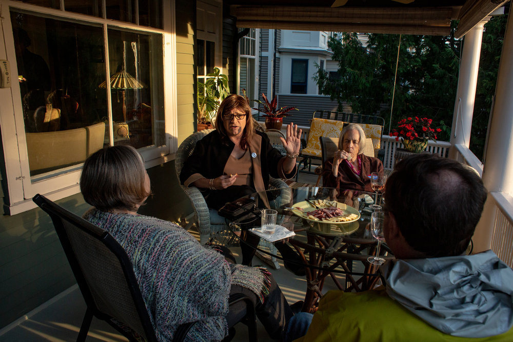 Christine Hallquist visits with guests at a private house party in Burlington, Vermont. Later in the evening, Hallquist, a Democrat from Vermont running for governor, addressed the small gathering to discuss her campaign issues and answer questions while looking for support and campaign donations. Hallquist became the first transgender candidate to be nominated for a governorship by a major party after beating three candidates in Vermont�s primary. She and her campaign team worked throughout the northern part of the state on Monday, September 24, 2018.JOHN TULLY For The New York Times