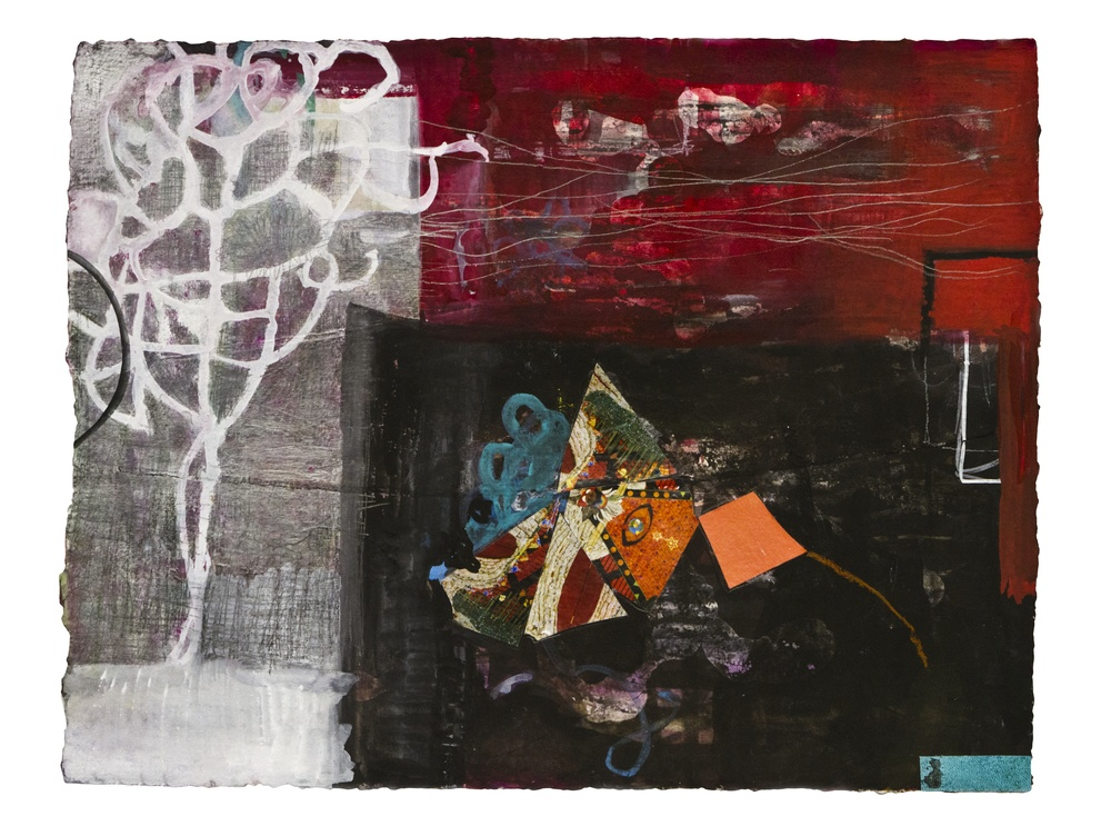 "Night Sky Red  ,  12""x 16"", gouache, ink, graphite, print      media on handmade paper, 2011"