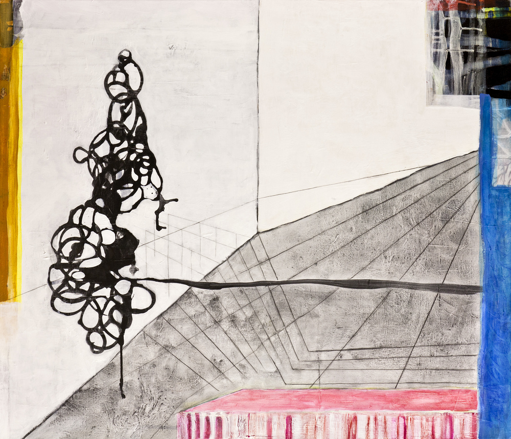 "Suspended In Space Left  , 42""x 36"", acrylic, ink, graphite, glass powder on canvas, 2011"