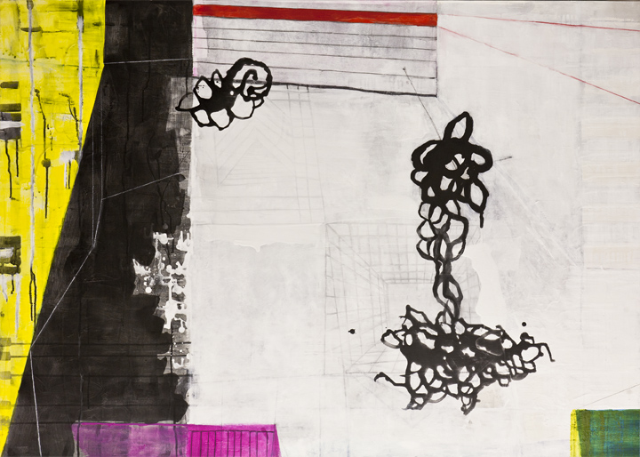 "Divergent Spaces  , 40""x 56"", acrylic, ink, graphite, glass powder on canvas, 2011"