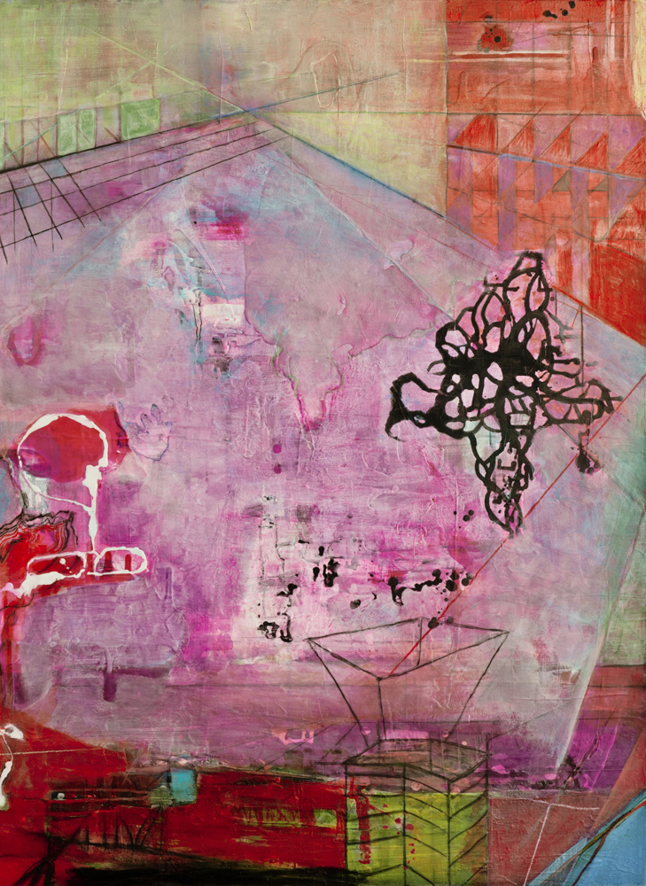 "Pink Floor Nascent Forms  , 48""x 36"", acrylic, ink, graphite, glass powder on canvas, 2011"
