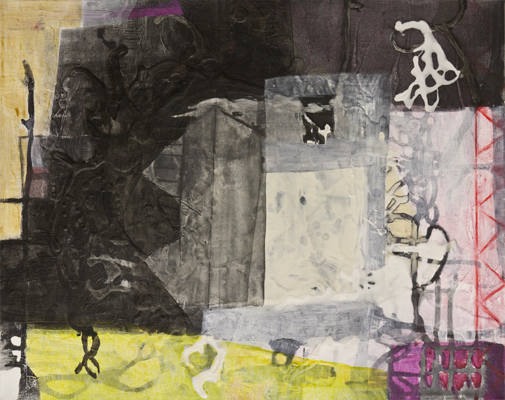 "Avenue,     16""x 20"", acrylic, ink, graphite, glass powder on canvas, 2011"
