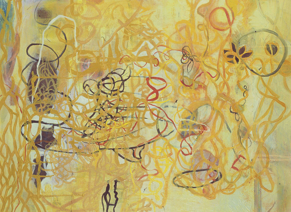 "Yellow Lines,   22""x 30"", oil on wood, 2007"