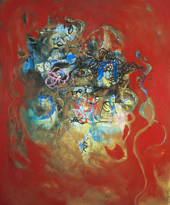 "Internal Struggle,   48""x 40"", oil on wood, 2007"