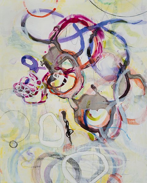"Rainbow Tangle,    10""x 8"", ink,gouache, acrylic, graphite on clayboard, 2014"