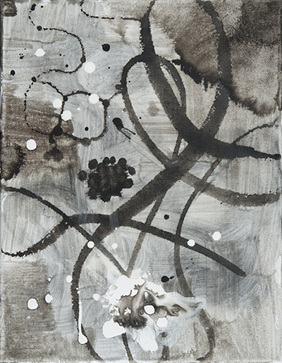 "Floating Grey,   18""x 14"", acrylic, ink on canvas, 2014"