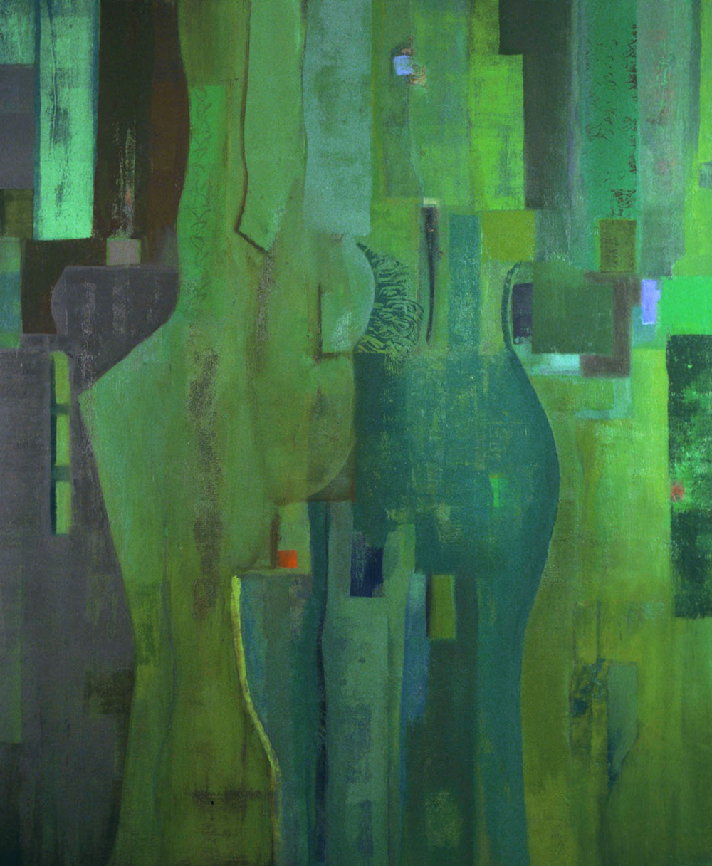 "Navigating the Center,    48""x 40"", oil on wood, 1999"