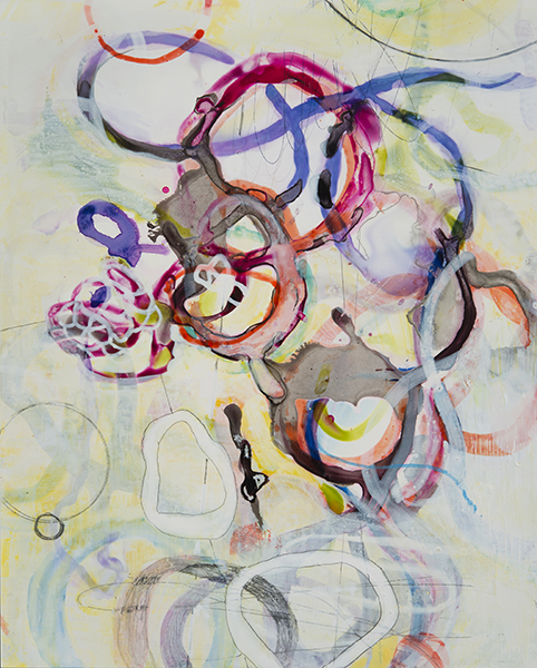 "Rainbow Tangle,      10""x 8"", ink, gouache, acrylic, graphite on clayboard, 2014"
