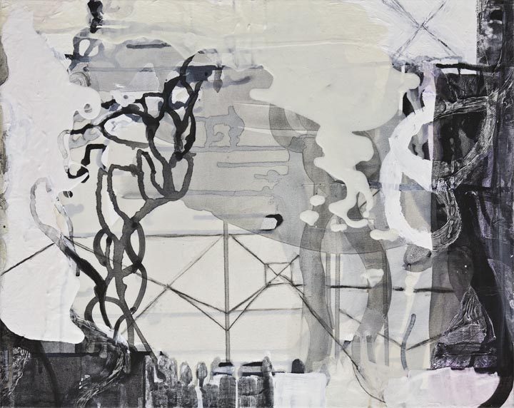 "Ash & Cloud,  16""x 20"", ink and pigment dispersion in polymer, graphite, glass powder on canvas, 2011"