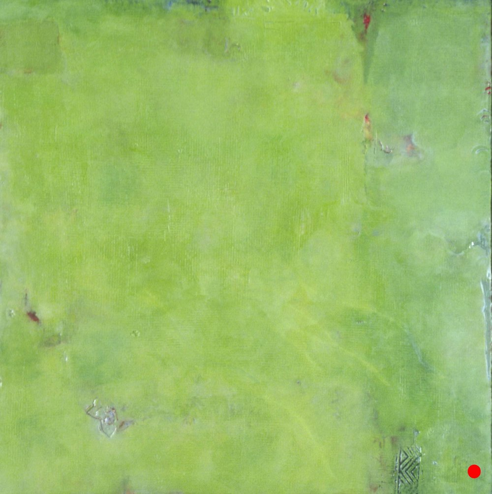 "Verdant  , 24""x 24"", encaustic on wood, 2003  SOLD"