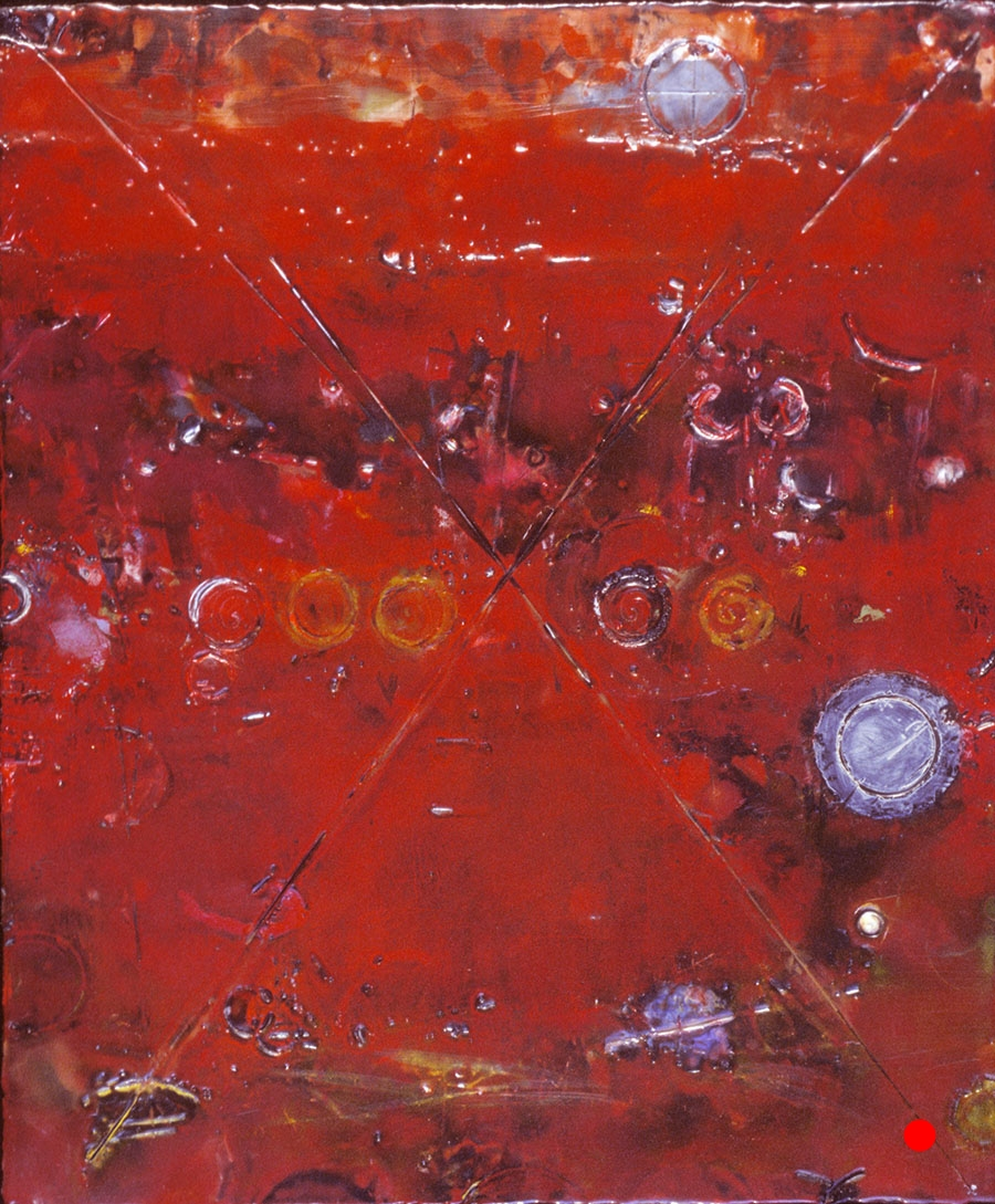 "Circle Red X ,  18""x 15"", encaustic, oil on wood, 2004  SOLD"