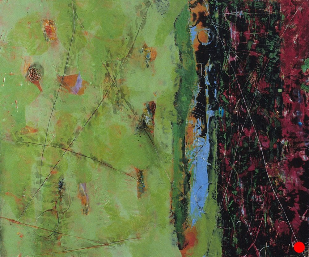 "Green Black Berry ,  25""x 30"", encaustic, oil on wood, 2005  SOLD"