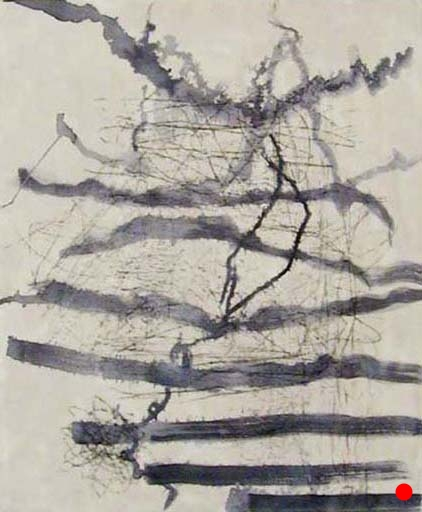 "Ink Gesture Pale,   24"" x 20"", encaustic, ink, graphite on wood, 2006     SOLD"