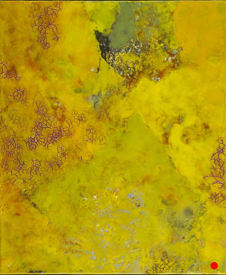 "Visceral Impressions,   18"" x 15"", encaustic, oil on wood, 2001  SOLD"