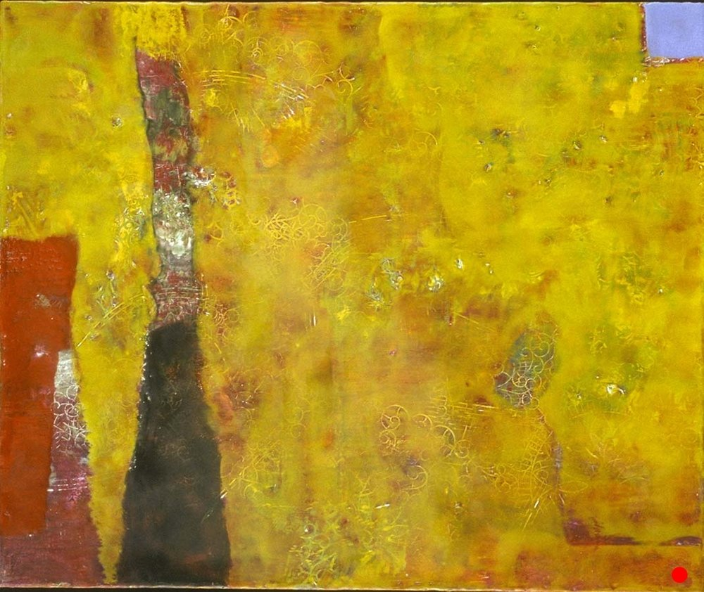 "Yellow Fantasy,   15"" x 18"", encaustic, oil on wood, 2000  SOLD"