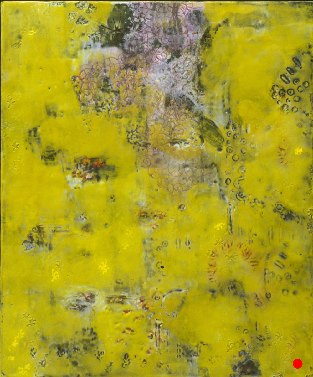 "Vine,   18"" x 15"", encaustic, oil on wood, 2000    SOLD"