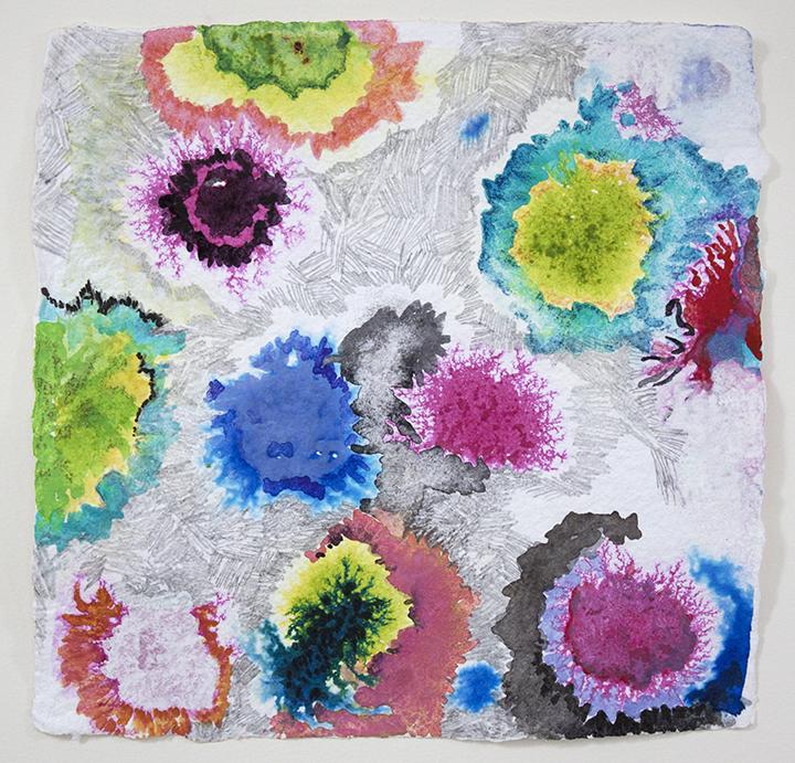 "Garden Anemones Turquoise,   8""x 8"", ink, gouache, graphite on handmade paper, 2013"