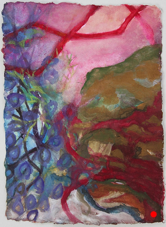 "Red Vine Wrapping , 7""x 5"", gouache on handmade paper, 2010  SOLD"