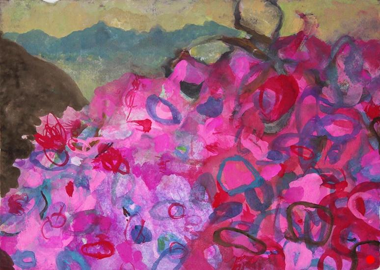 "Pink Hydrangea,   5""x 7"", gouache on handmade paper, 2010  SOLD"