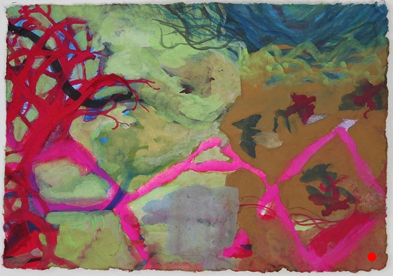 "Red Tree,  5""x 7"", gouache on handmade paper, 2010  SOLD"