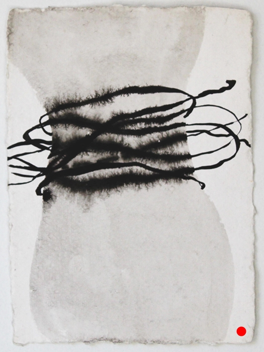 "Feeling Squeezed,   7"" x 5"", ink on handmade paper, 2010  SOLD"