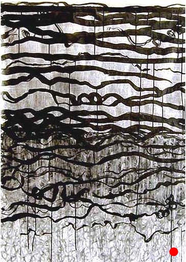 "Black Ribbons, 40""x 30"", ink, charcoal, graphite on vellum, 2010  SOLD"