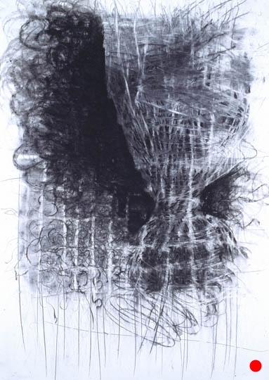 "Whirl,   40.5""x 29.5"", charcoal, graphite on paper, 2005      SOLD"