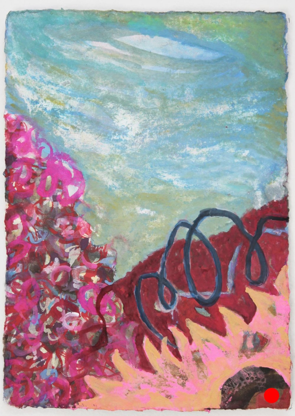 "Yellow Flower Pink,   7 ""x 5"", gouache on handmade paper, 2010      SOLD"