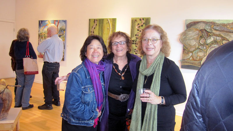 Naomi Teppich, Marjorie Morrow, and Nancy Lew Lee at the Rver & Biota opening.