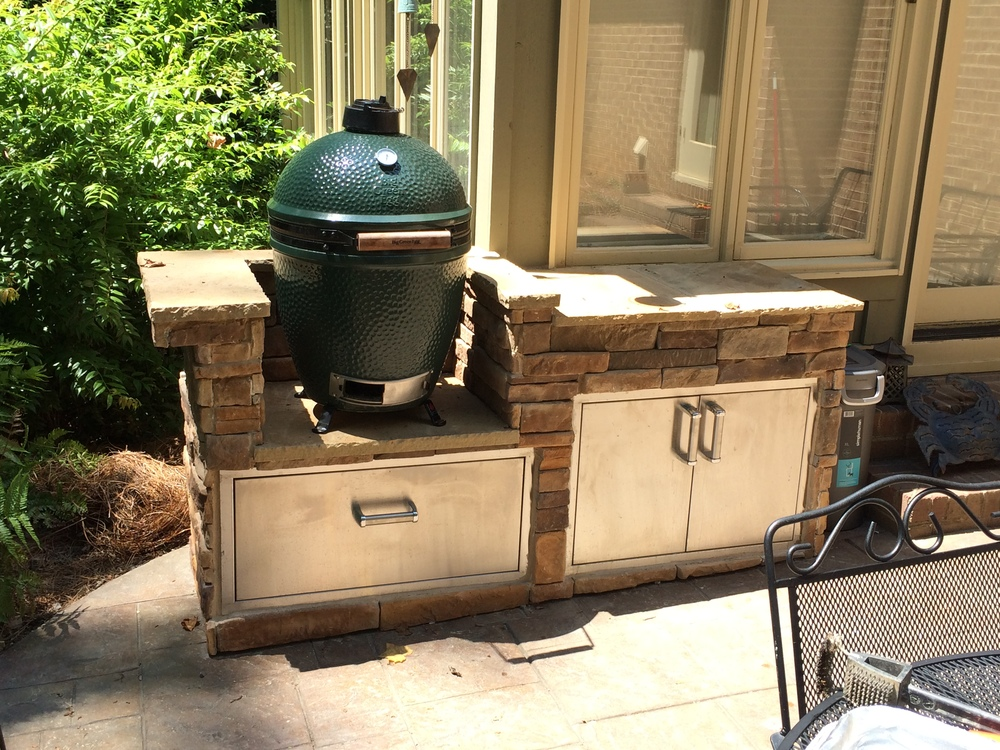 Custom big green egg and yeti cooler island