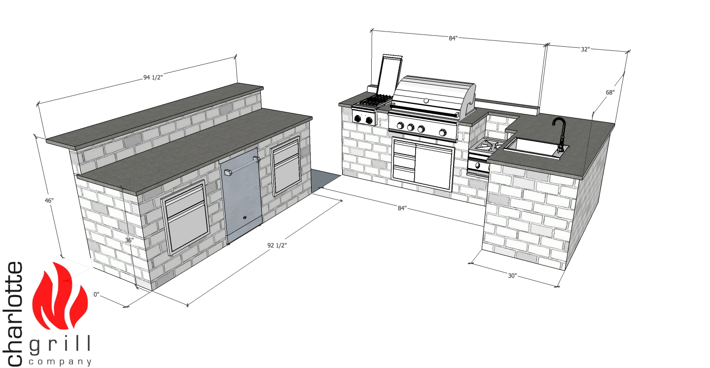 Diy outdoor kitchen charlotte grill company from brick stone tile stuccowhatever it may be we can get the process started by providing a fully specd frame that will be ready to cover as soon as solutioingenieria Images