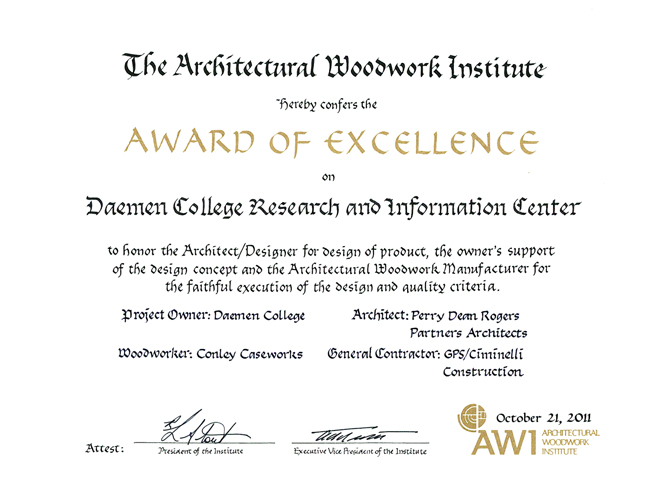 Daemen ric snags awis award of excellence pdr blog was awarded the architectural woodwork institutes awi award of excellence many thanks to conley caseworks for a rewarding collaborative effort thecheapjerseys Image collections