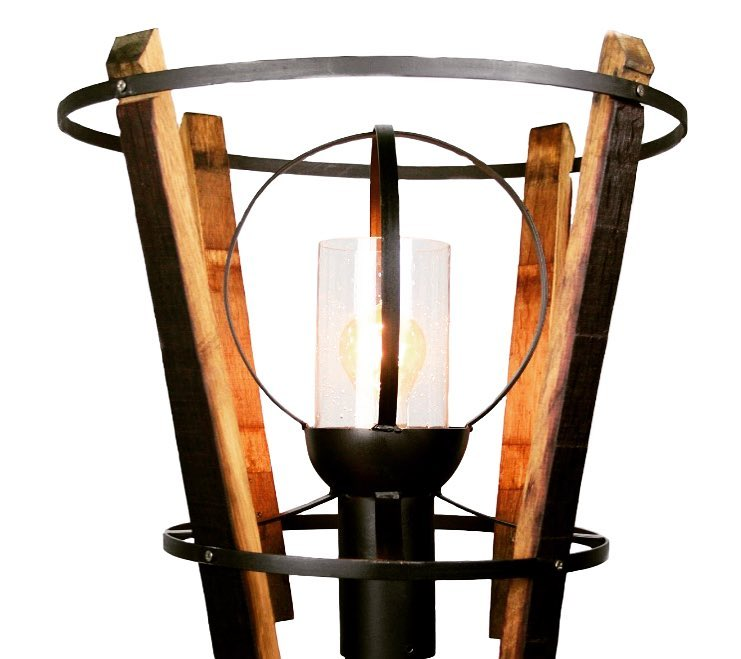 Wine barrel inspired column light