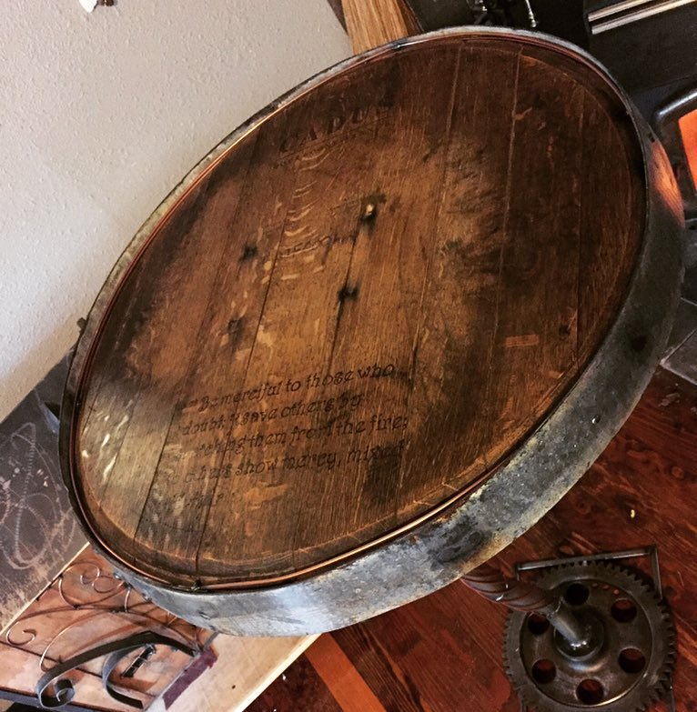 Wine barrel table for 6th & Gibbs church Cottage Grove OR