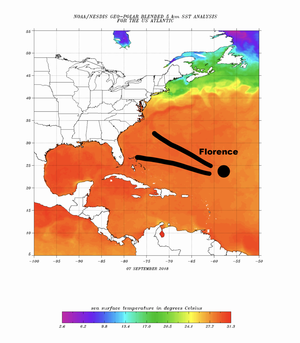 Florence will enter extremely warm water over the next 4 days