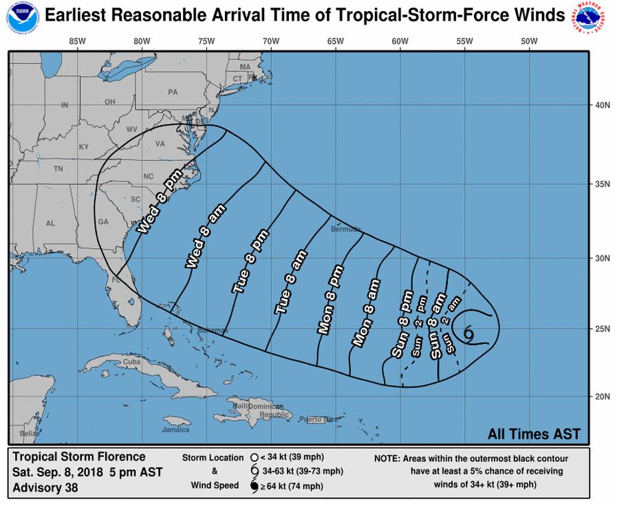 National Hurricane Time Progression Map