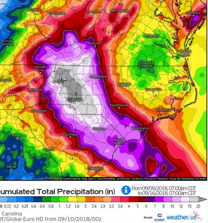 0z European Rainfall Totals For Florence
