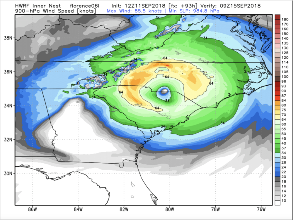 12z HWRF Tuesday Run Wind Field For Saturday Morning