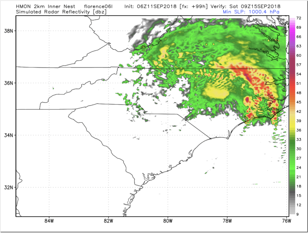 12z HMON Tuesday Simulated Radar For Saturday Morning