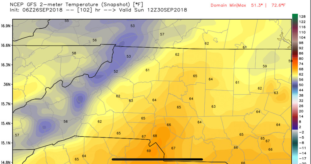 6z GFS Temp Depiction Sunday Morning