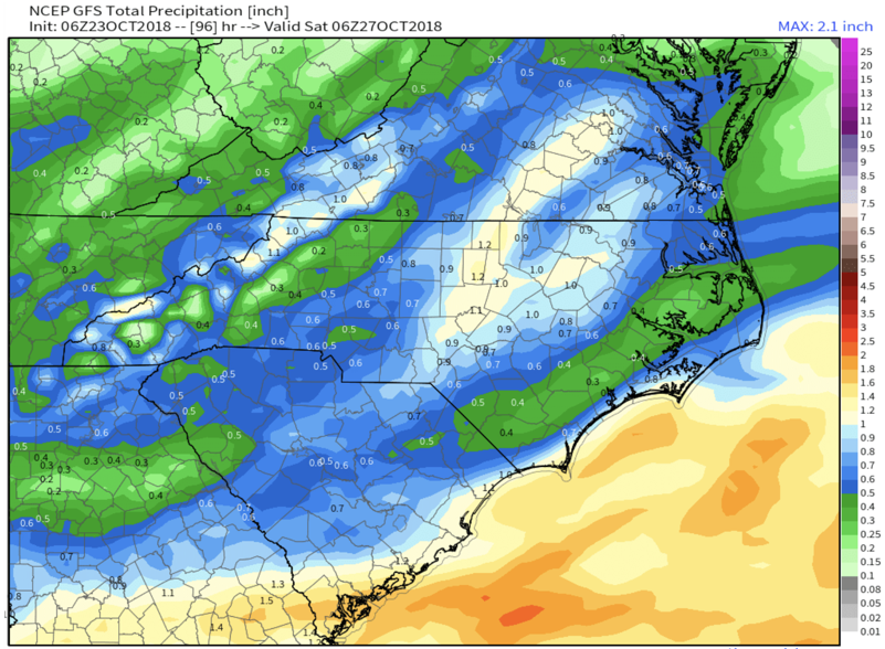 """.5""""-1"""" of rainfall expected for Asheville, 1""""+ expecting for Boone area."""