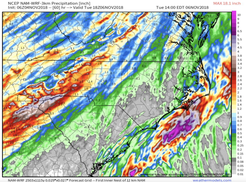 Total Precipitation Thru Tuesday Courtesy of  Weathermodels.com