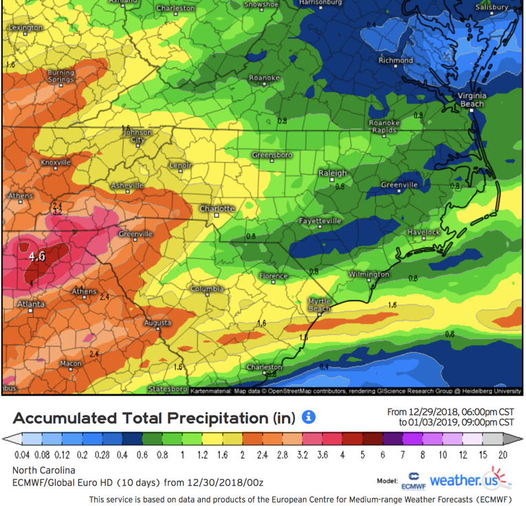 0z European Accumulated Precipitation Through Thursday Courtesy of  Weather.us