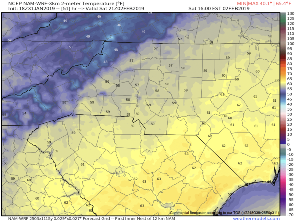 3km Nam temperatures for Saturday afternoon courtesy of  Weathermodels.com