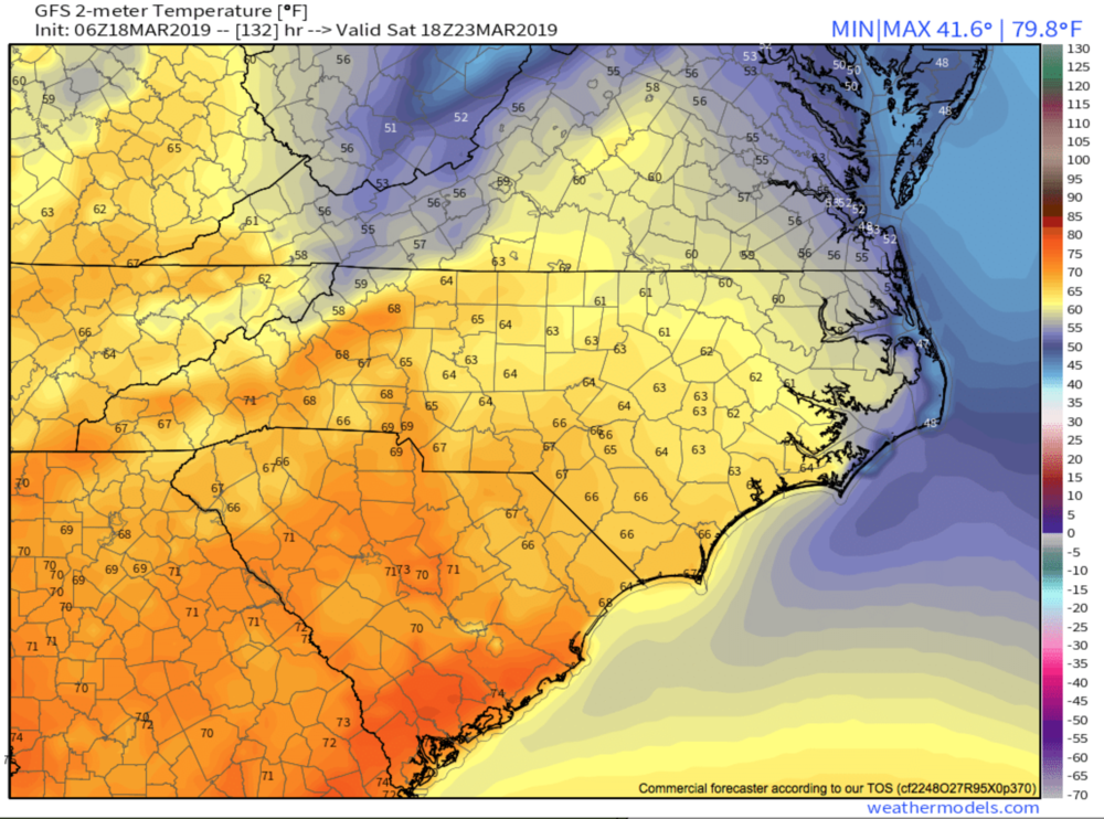 6z GFS Temp Depiction courtesy of  Weathermodels.com