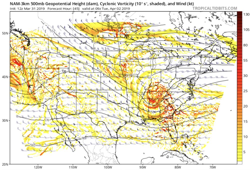3km NAM 500mb Chart Courtesy of  Tropicaltidbits.com