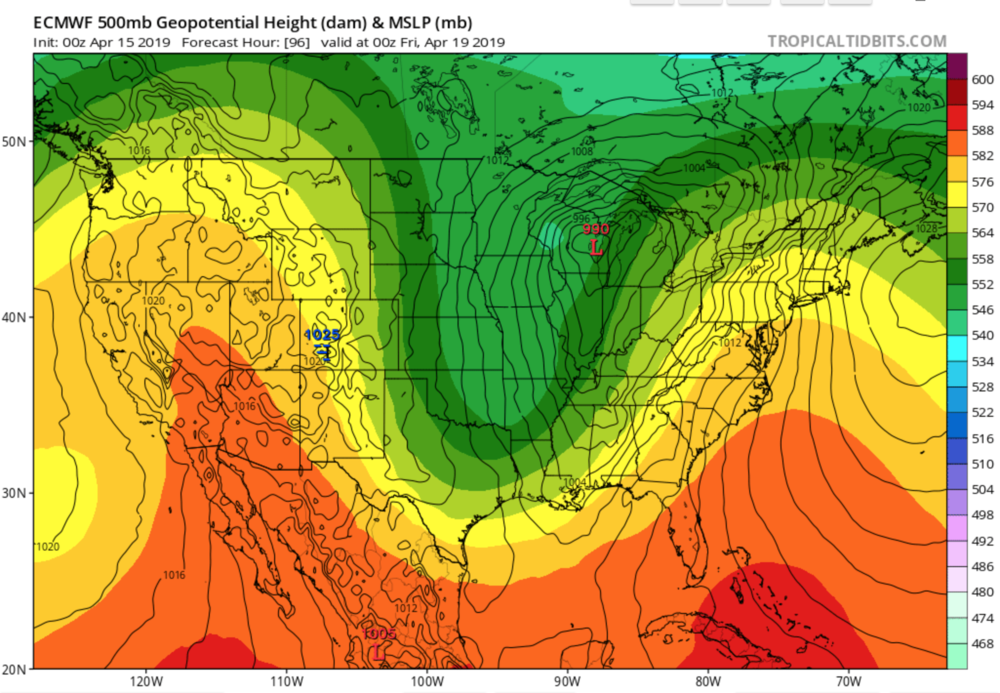 Euro Surface Low Over MI.. Map Courtesy of  TropicalTidbits.com